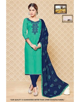 Traditional Wear Green Cambric Cotton Salwar Suit - 71405