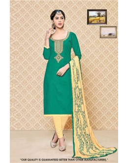 Festival Wear Green Cambric Cotton Salwar Suit - 71406