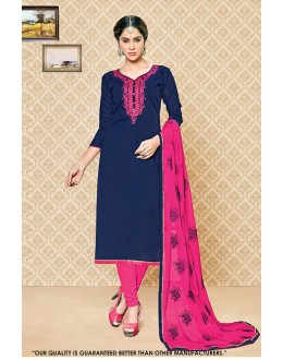 Ethnic Wear Blue Cambric Cotton Salwar Suit - 71408