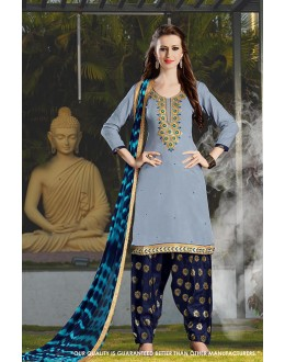 Festival Wear Grey Cotton Salwar Suit - 71410
