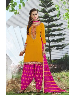 Party  Wear Yellow Cotton Salwar Suit - 71411