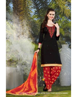 Traditional  Wear Black Cotton Salwar Suit - 71414