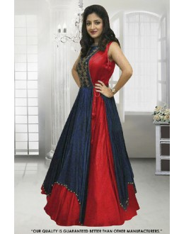 Party Wear Red Banglori Gown - 71307H