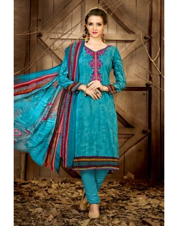 Ethnic Wear Blue Rayon-Modal Salwar Suit - 71447