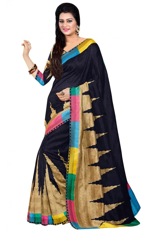 Party Wear Bhagalpuri Black Saree - 80167