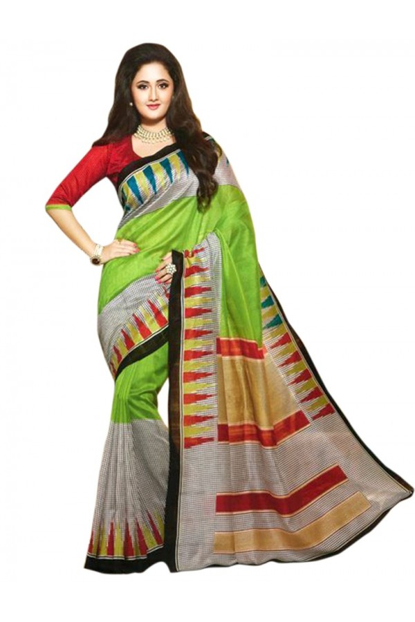 Party Wear Bhagalpuri Green Saree - 80182