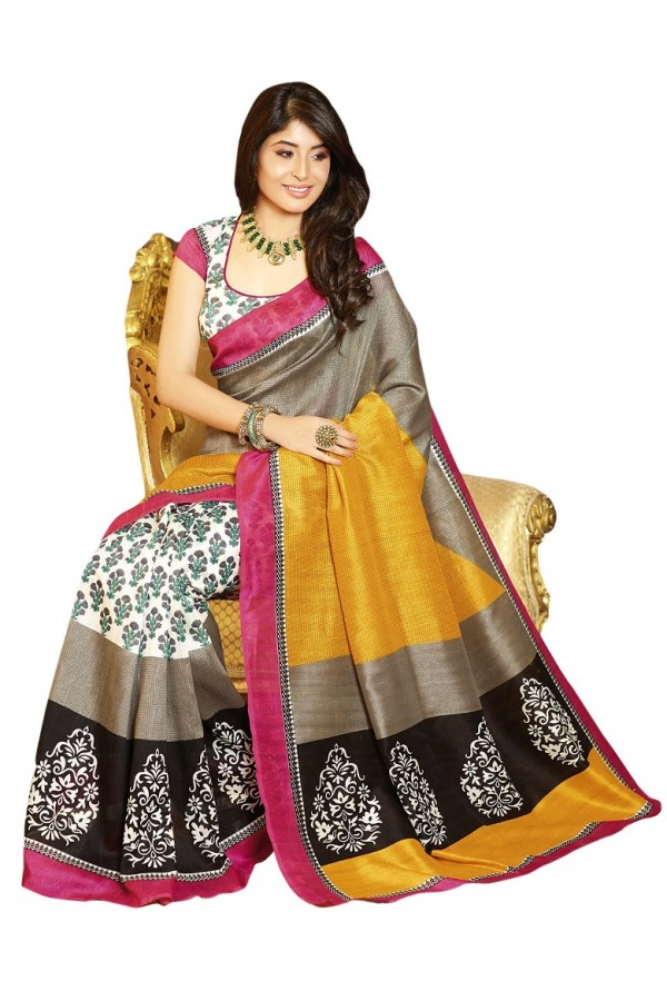 Party Wear Bhagalpuri Multicolor Saree - 80154