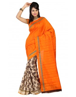 Party Wear Bhagalpuri Orange Saree - 80159