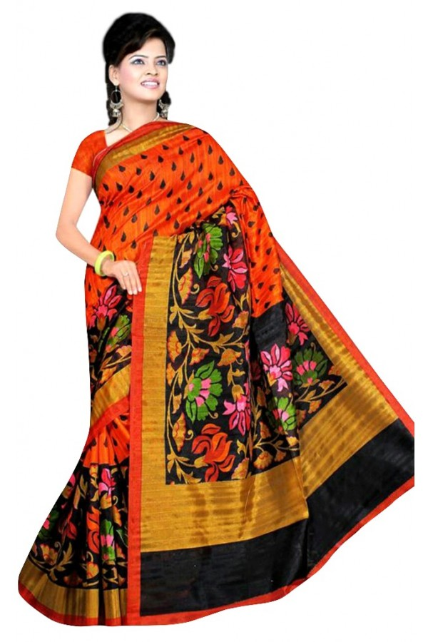 Party Wear Bhagalpuri Orange Saree - 80180