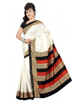 Party Wear Bhagalpuri White Saree - 80178
