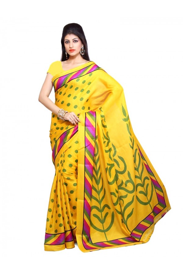 Party Wear Bhagalpuri Yellow Saree - 80155