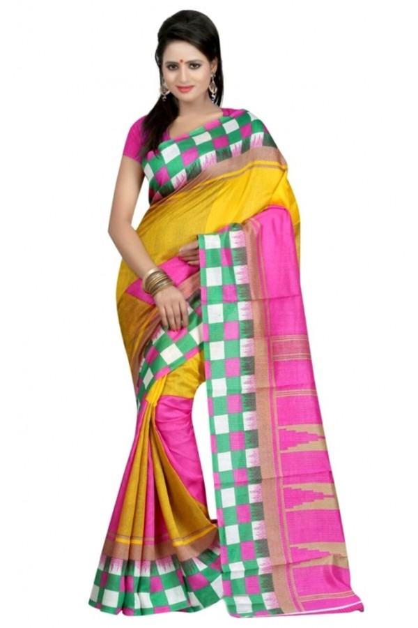 Party Wear Bhagalpuri Yellow Saree - 80176