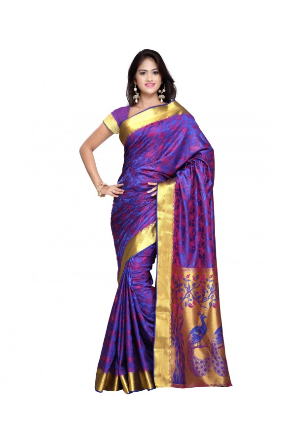 Traditional Purple Art Silk Saree  - 80295