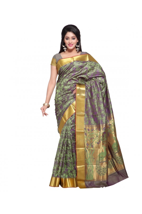 Traditional Grey Art Silk Saree  - 80299