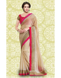 Bollywood Inspired : Designer Pink Georgette Saree - 803034