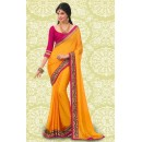 Bollywood Inspired : Party Wear Yellow Georgette Saree - 803035