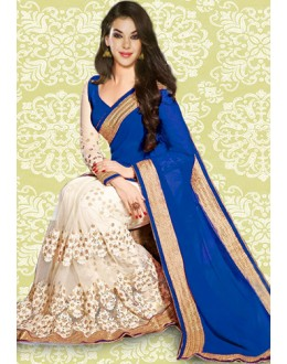 Bollywood Inspired : Designer Blue Georgette Saree - 803037E