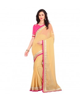 Party Wear Beige Georgette Lace Work Saree  - 803034