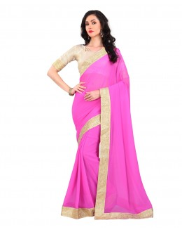 Wedding Wear Pink Georgette Lace Work Saree  - 803036