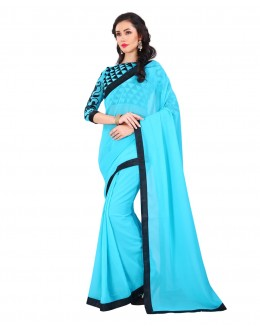 Party Wear Blue Georgette Lace Work Saree  - EBSFS19805B