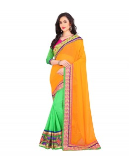 Casual Wear Orange & Green Georgette Saree  - EBSFS19809A