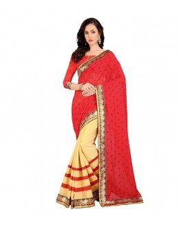 Party Wear Chiffon Half & Half Saree  - EBSFS212136