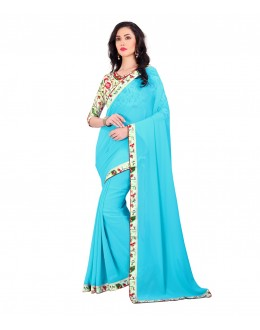 Wedding Wear Blue Chiffon Floral Lace Work Saree  - EBSFS212144C