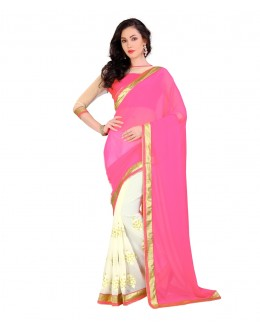 Pink & Off White Georgette Half & Half  Saree  - EBSFS212147C