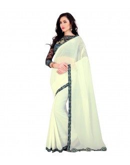 Wedding Wear White Georgette Lace Work Saree  - EBSFSZ321003