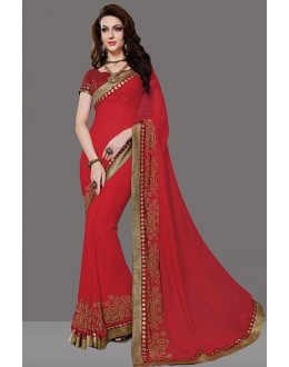 Party Wear Dark Red Faux Georgette Saree  - 80400