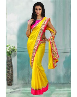 Bollywood Inspired - Georgette Yellow Embroidery Saree  - 80742