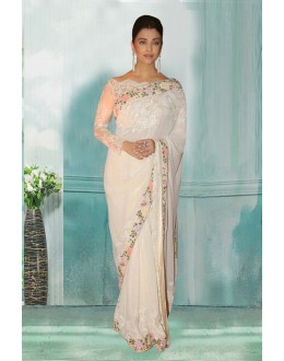 Bollywood Inspired - Aishwarya Rai In White Saree  - 80762