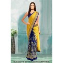 Bollywood Inspired - Georgette Yellow & Blue Saree  - 80813