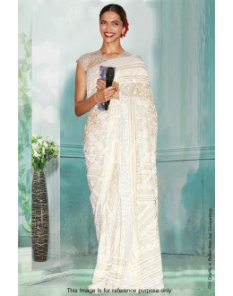 Bollywood Inspired - Deepika Padukone In Off White Saree  - 81282