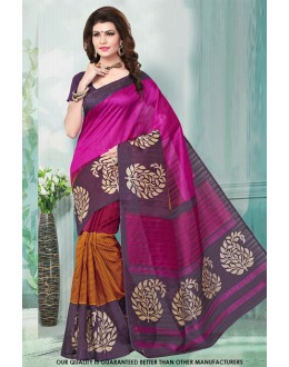 Party Wear Multi-Colour Bhagalpuri Saree  - 81480