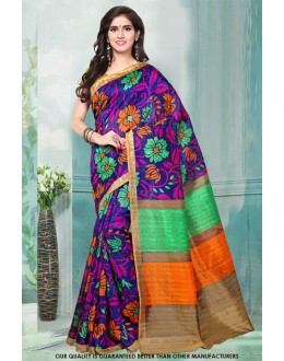 Multi-Colour Bhagalpuri Designer Saree  - 81483