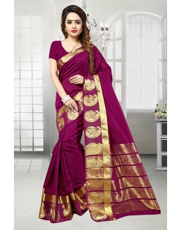 Festival Wear Purple Banarasi Silk Saree  - 81515B