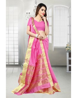 Party Wear Pink Banarasi Silk Saree  - 81518C