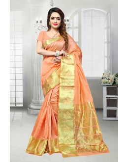 Traditional Peach Banarasi Silk Saree  - 81518F