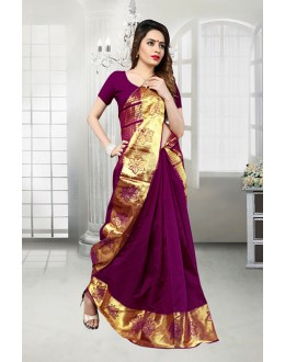 Party Wear Purple Banarasi Silk Saree  - 81518H