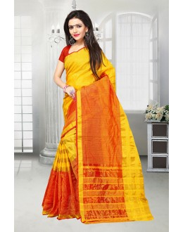 Ethnic Wear Yellow & Red Dora Kota Saree  - 81519A