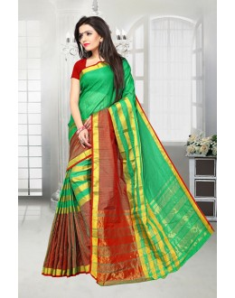 Green & Red Colour Dora Kota Saree  - 81519B