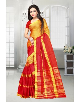 Ethnic Wear Red & Yellow Dora Kota Saree  - 81520A