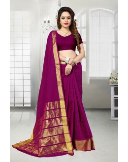 Banarasi Silk Magenta Colour Attractive Saree  - 81523D