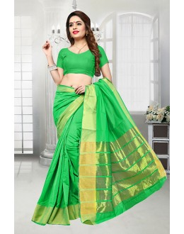 Festival Wear Green Banarasi Silk Saree  - 81523G