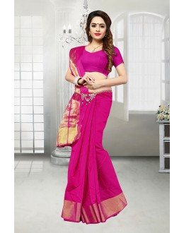 Party Wear Pink Banarasi Silk Saree  - 81523H