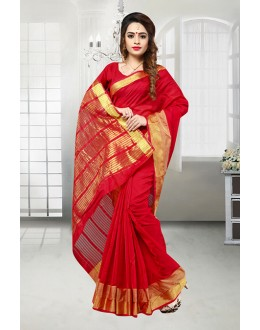 Casual Wear Red Banarasi Silk Saree  - 81524B
