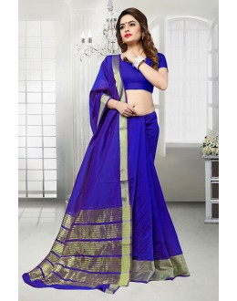 Banarasi Silk Blue Attractive Saree  - 81524D