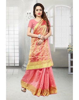 Party Wear Pink Banarasi Silk Saree  - 81524E