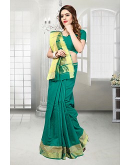 Casual Wear Green Banarasi Silk Saree  - 81524F